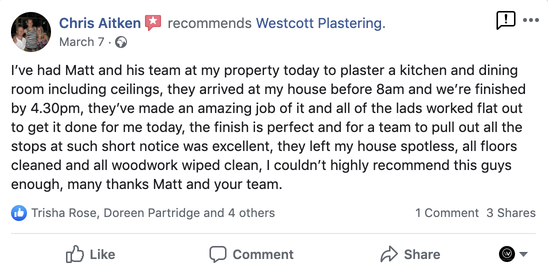 Customer Review From Westcott Plastering Facebook